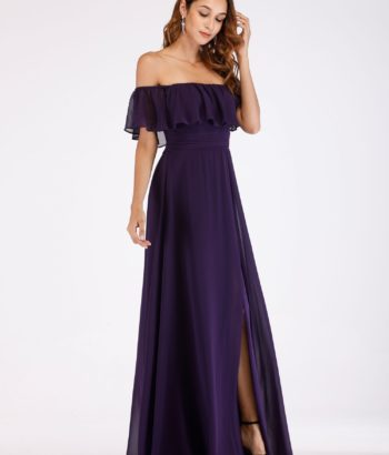 Off Shoulder Grape Long Bridesmaid Dresses