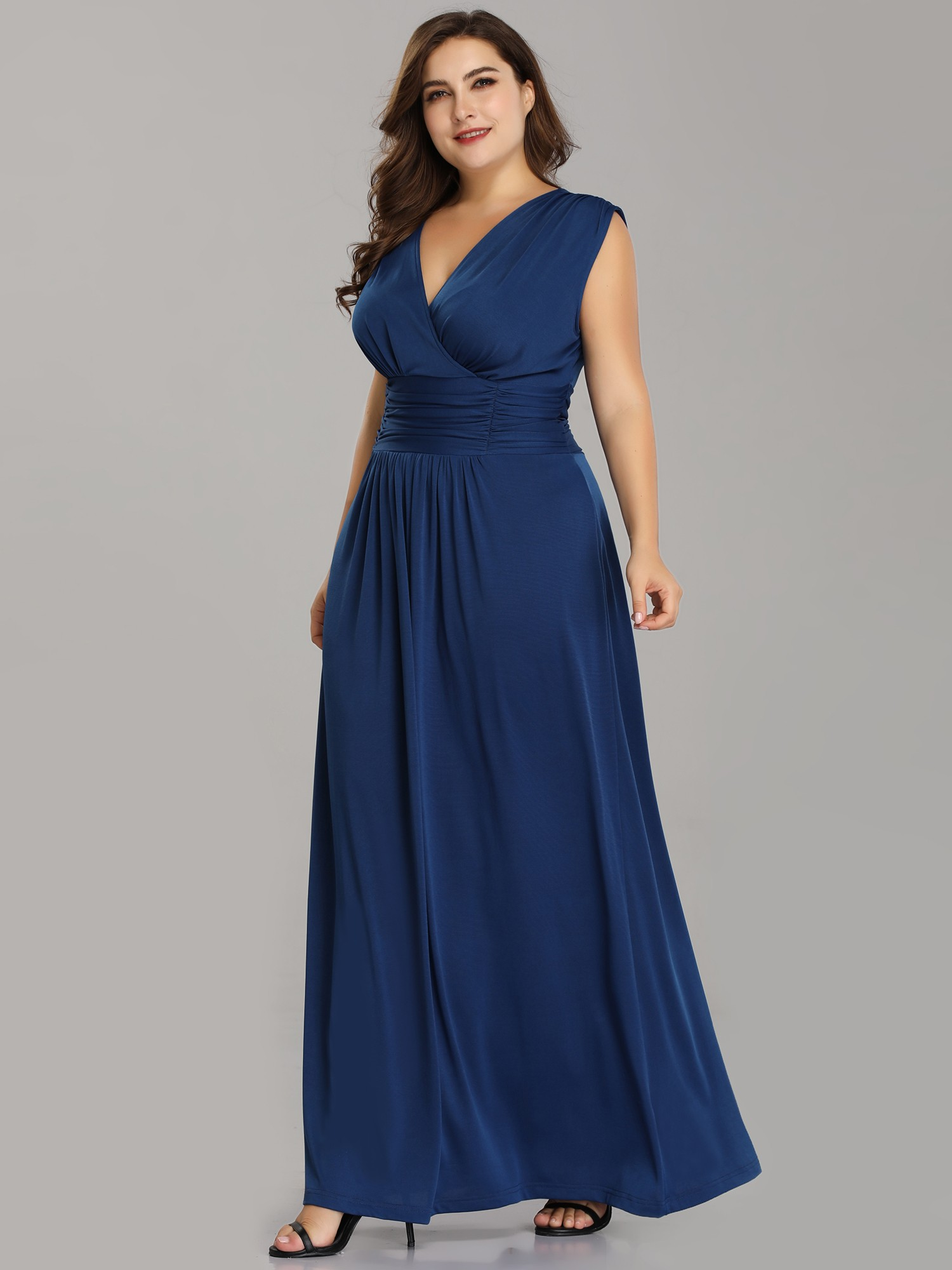 Plus Size Blue V Neck Mother Of The Bride Dresses