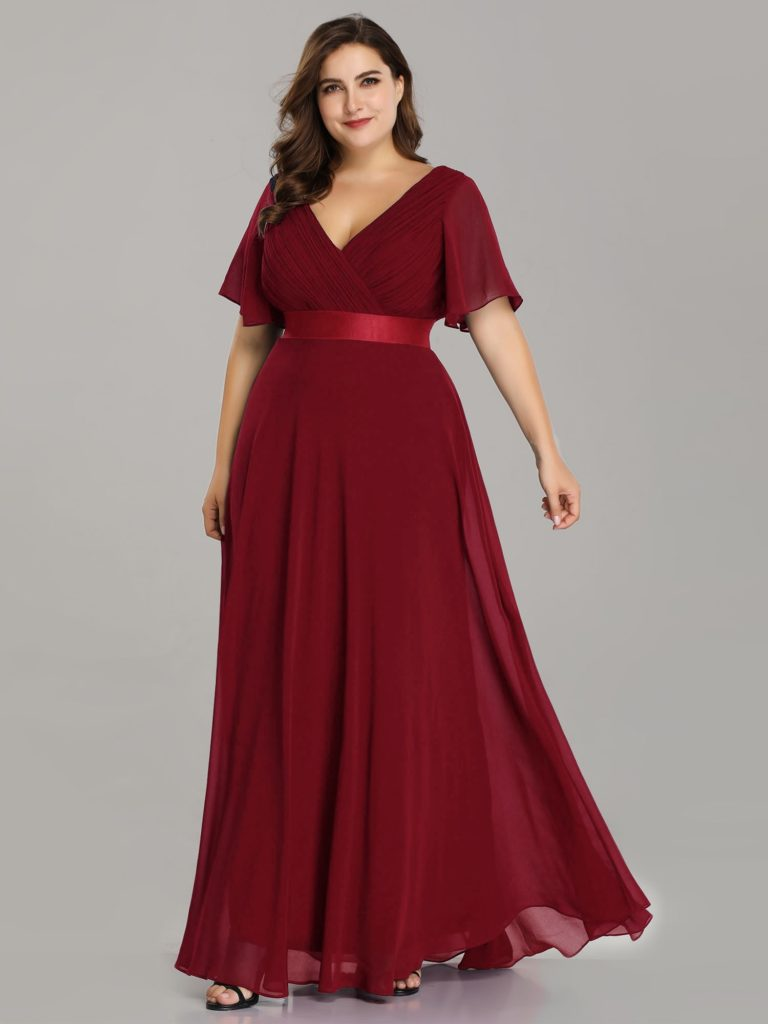 Plus Size Burgundy V Neck Mother Dresses with Half Sleeves