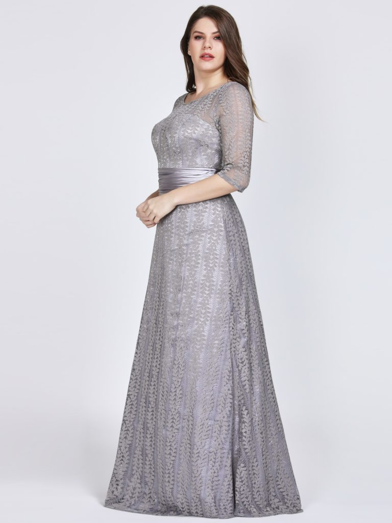 Plus Size Grey Long Mother Of The Bride Dresses With Half Sleeves