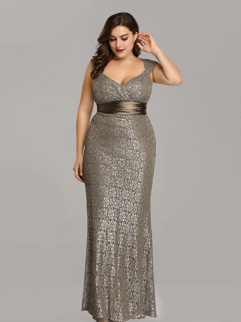 Plus Size Long Silver Mother of The Bride Dress