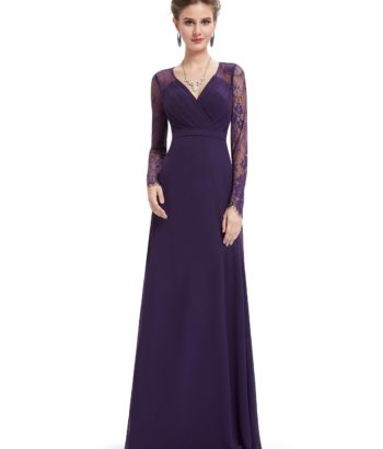 Purple V Neck Mother Of the Bride Dress with Long Lace Sleeves