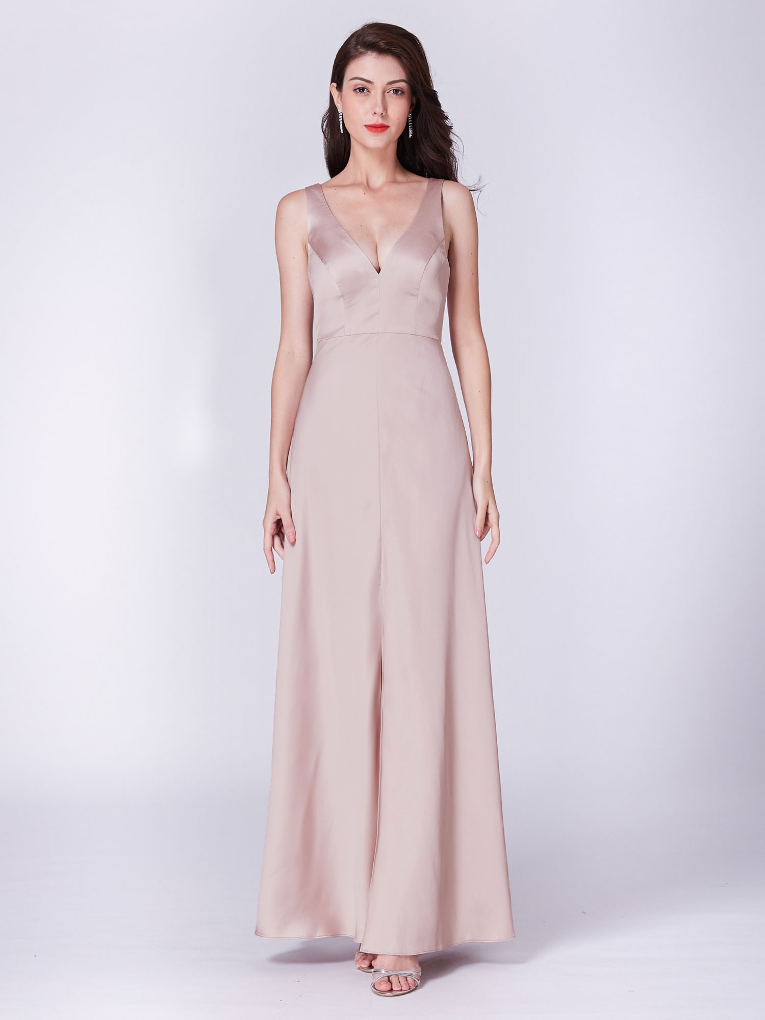 Satin V Neck Baby Pink Bridesmaid Dresses
