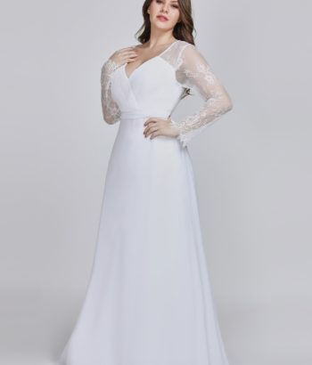 White Plus Size V Neck Mother Of the Bride Dress With Lace Sleeves