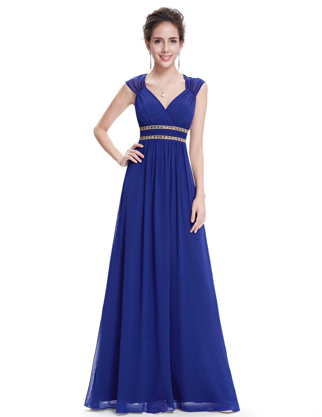 2017 Elegant V-neck Bridesmaid Dress Royal Blue