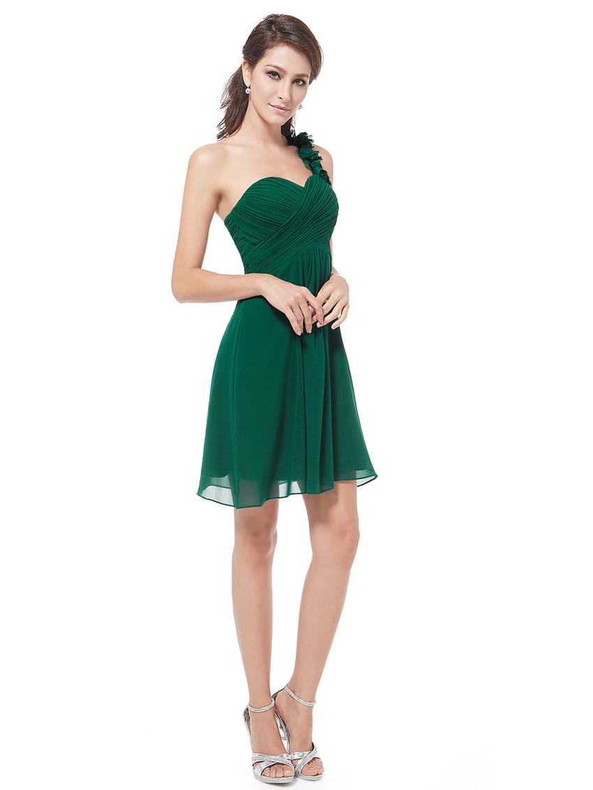 2017 Summer Short One Shoulder Flowers Forest Green Bridesmaid Dress