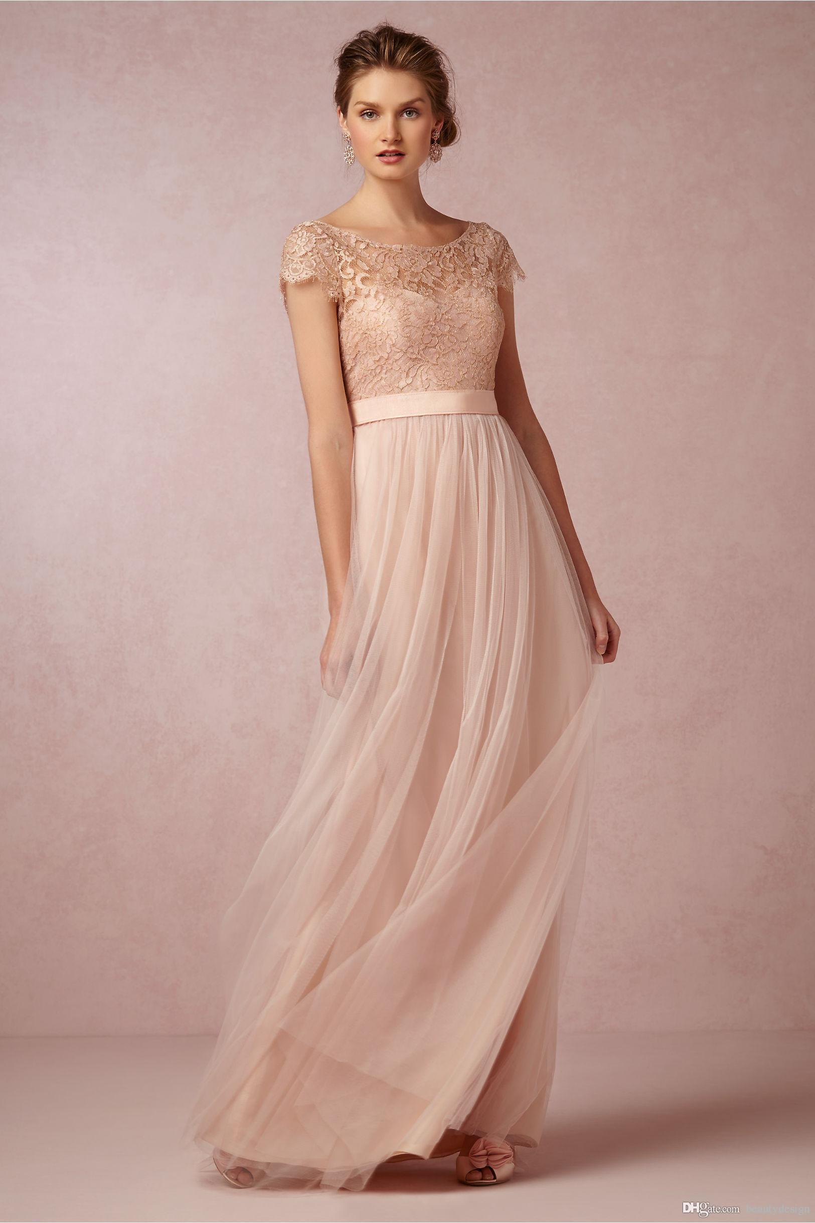 2017 Vintage Allık Dantel Uzun Gelinlik Modelleri Illusion Bateau pink bridesmaid dress