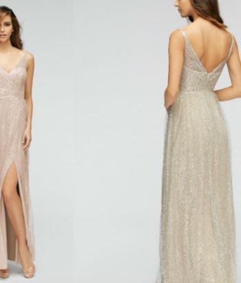 A Line V neck long beige bridesmaid Dress uk