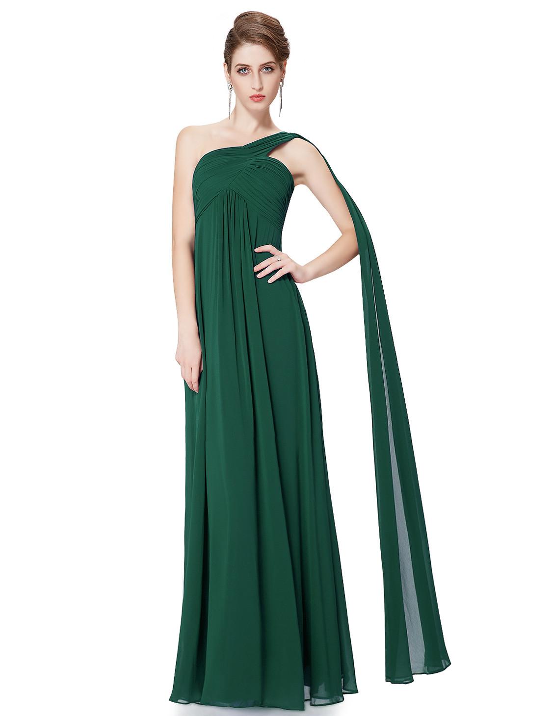 A-line Long One Shoulder Bridesmaid Dress Green