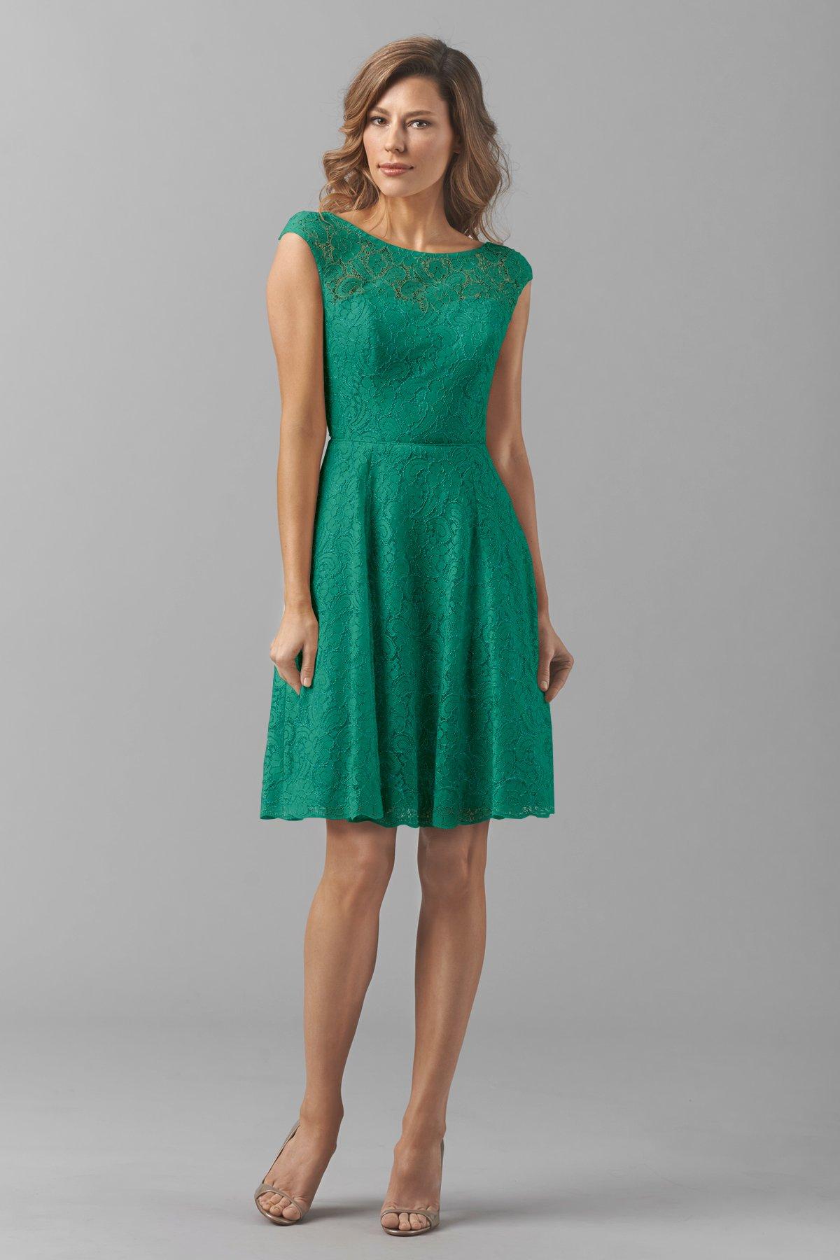 Aqua Green Short Lace Bridesmaid Dress