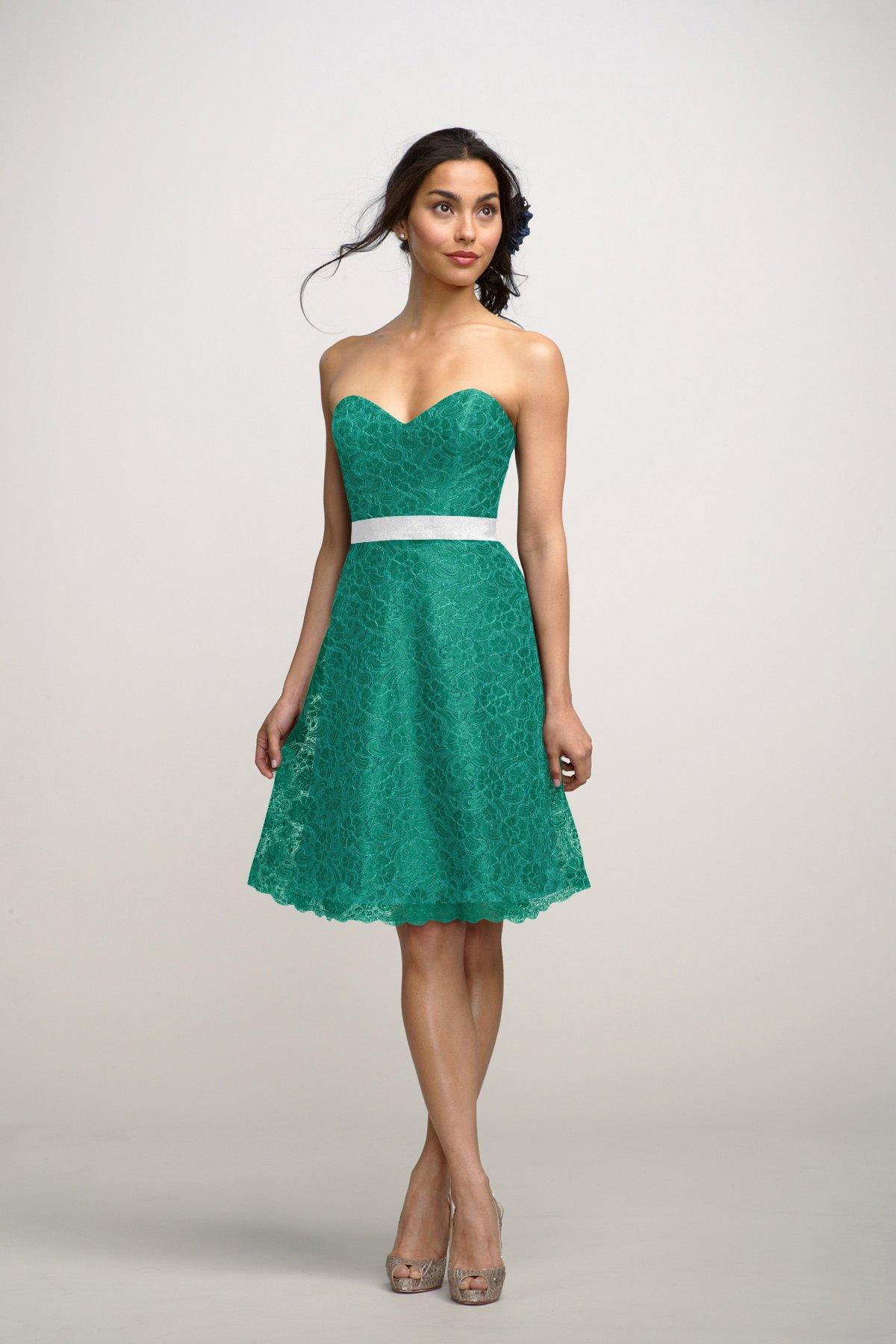 Aqua Green Short Sweetheart bridesmaid dress with belt