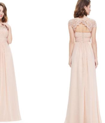 Beige Rose Pink Lacey Neckline Bridesmaid Dress