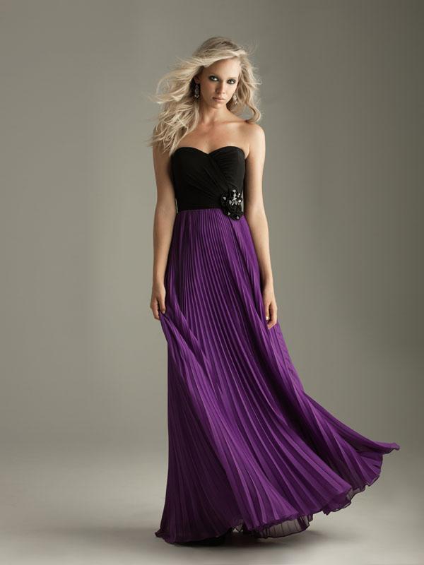 Black and purple long bridesmaid dresses