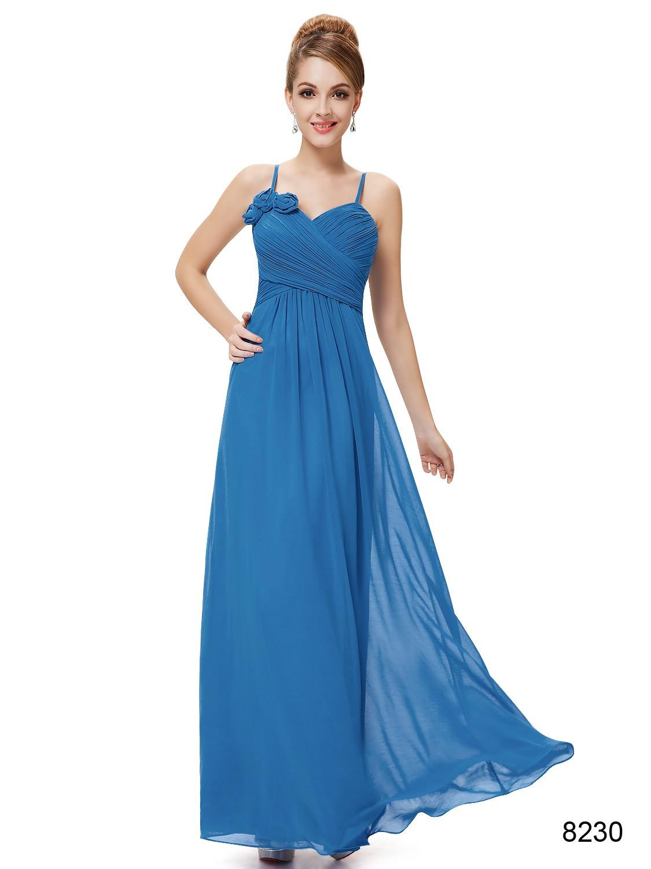 Blue Ruffled Spaghetti Straps Long Bridesmaid Dress