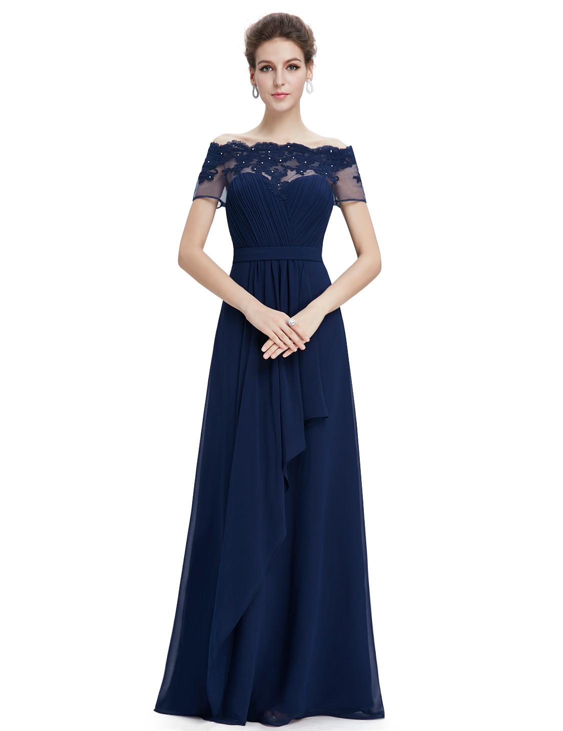 Boat Neck Navy Blue Lacy Bridesmaid Dress UK