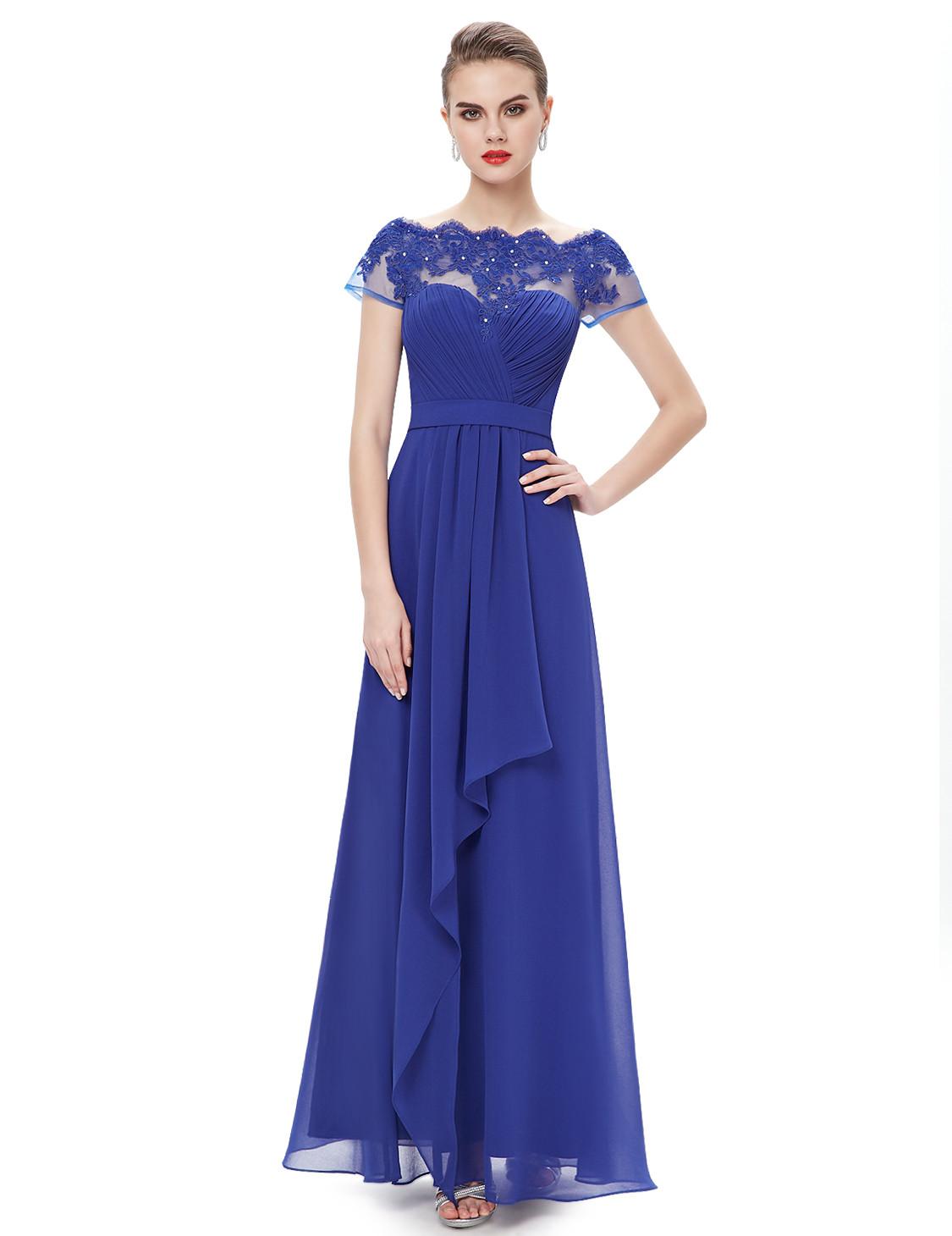 Boat Neck Sheer Lace Top Bridesmaid Dress Royal Blue