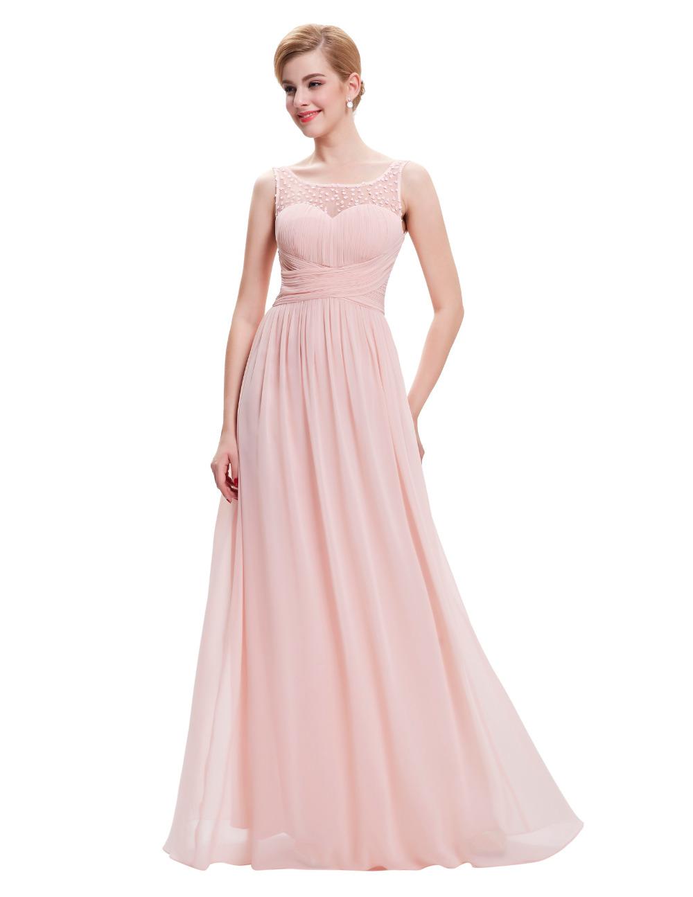 Cheap-long pale pink bridesmaid dresses