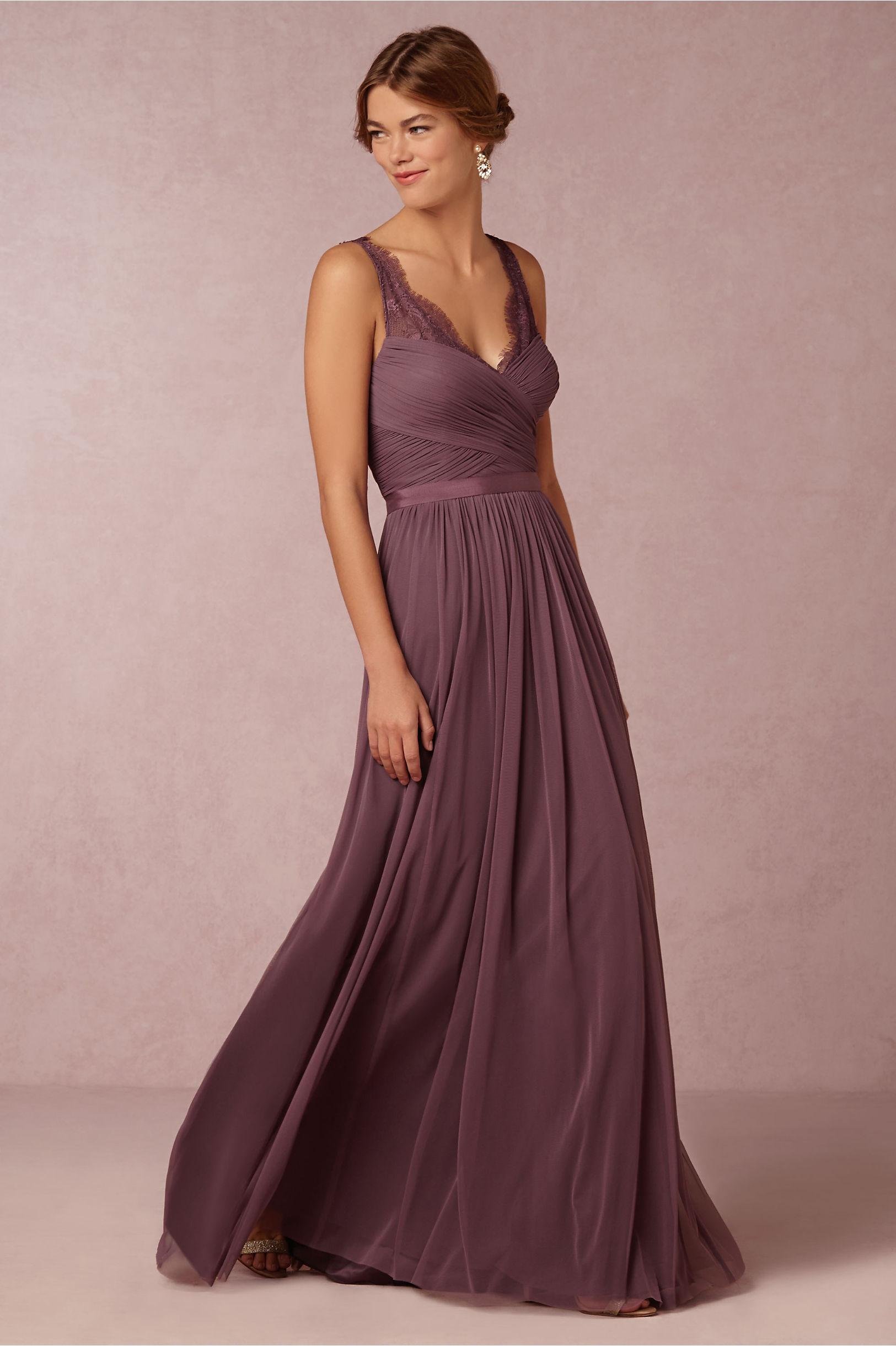 Chiffon Purple elegant long bridesmaid dress