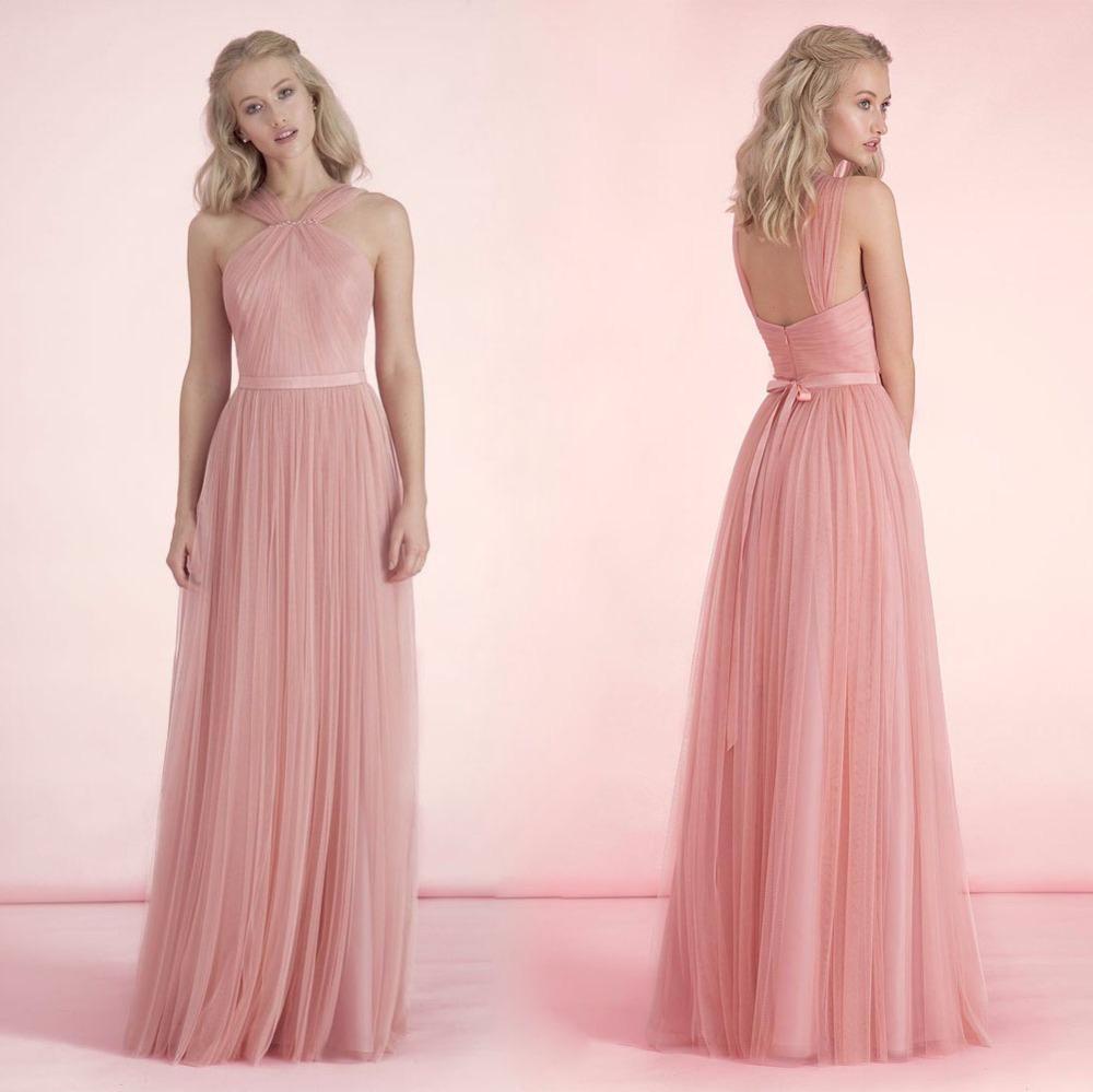 Cute Long Soft Pink Bridesmaid Dress