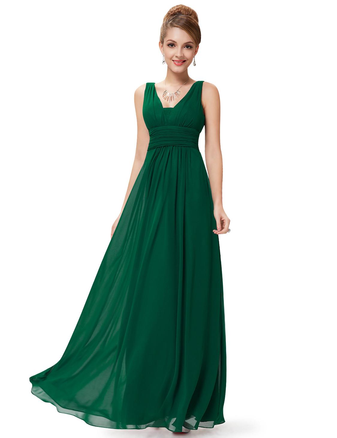Deep V blong Bridesmaid Dress Forest Green