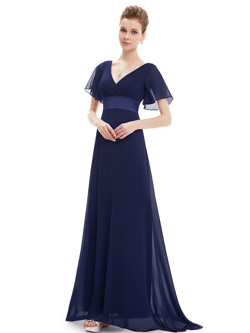 Double V-Neck Ruffles Bridesmaid Dress Navy Blue