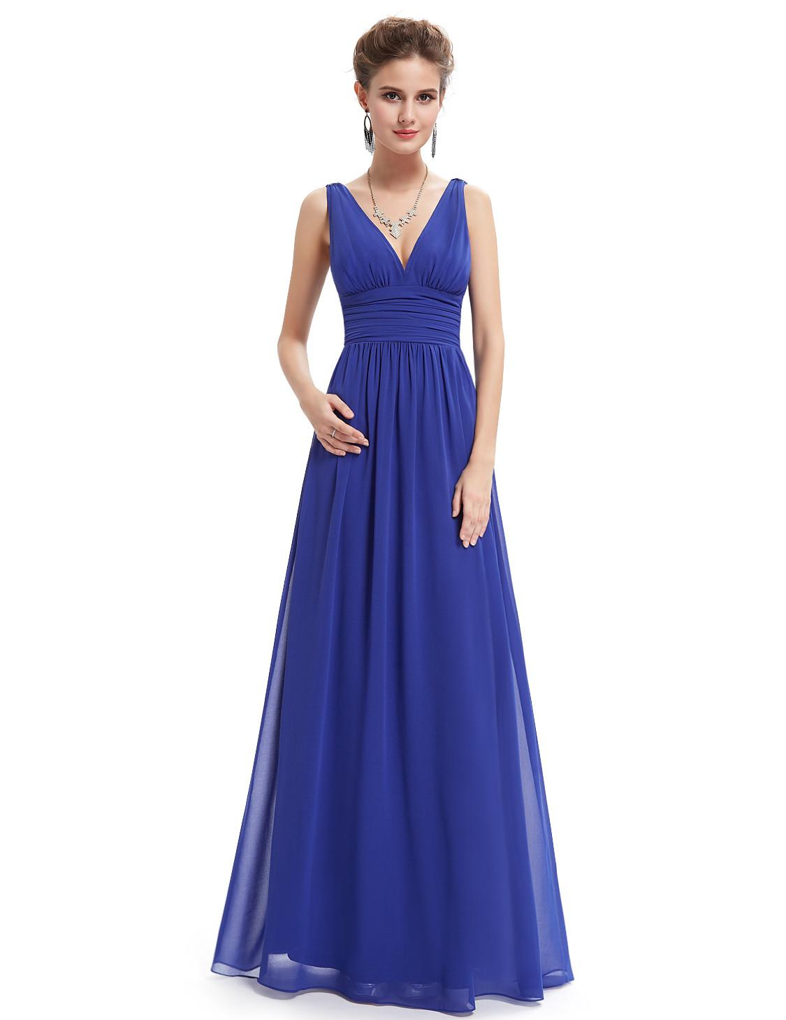 Elegant Double V Neck Blue Bridesmaid Dress