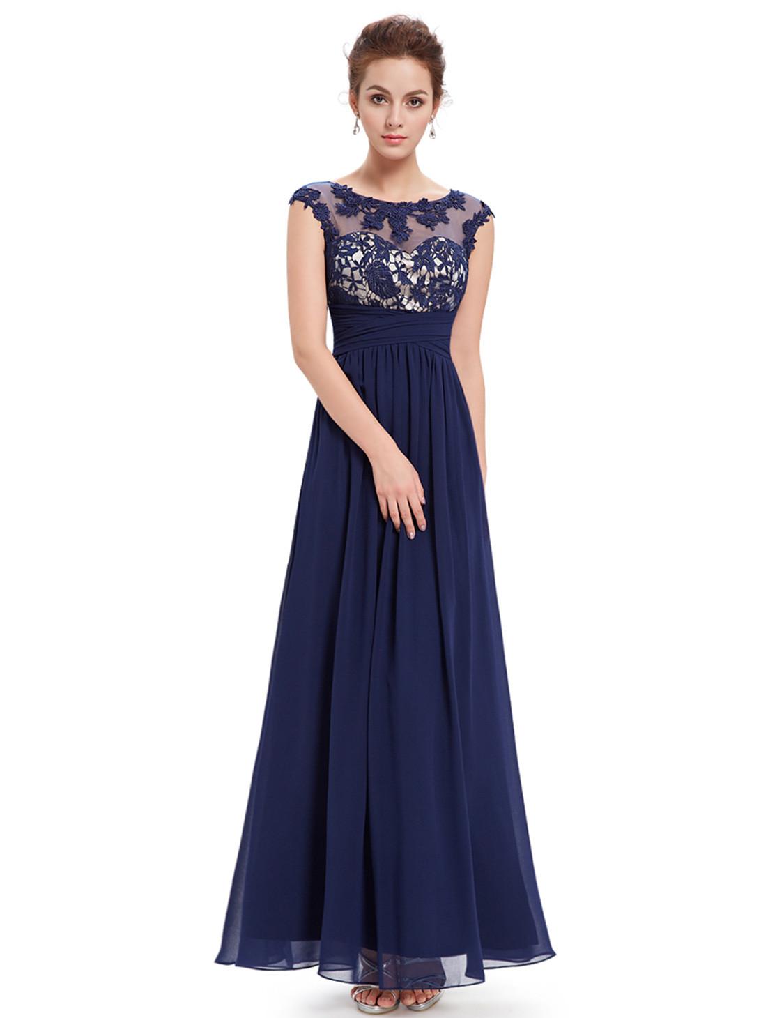 Elegant Lacy Bridesmaid Dress Navy