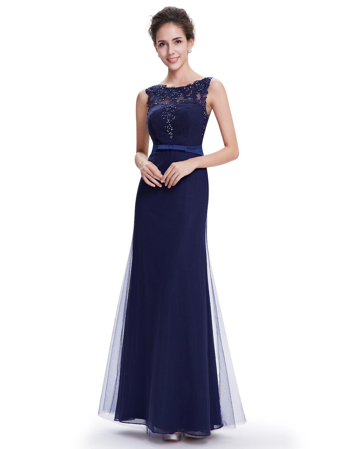 Elegant Long Navy Blue Bridesmaid Dress UK