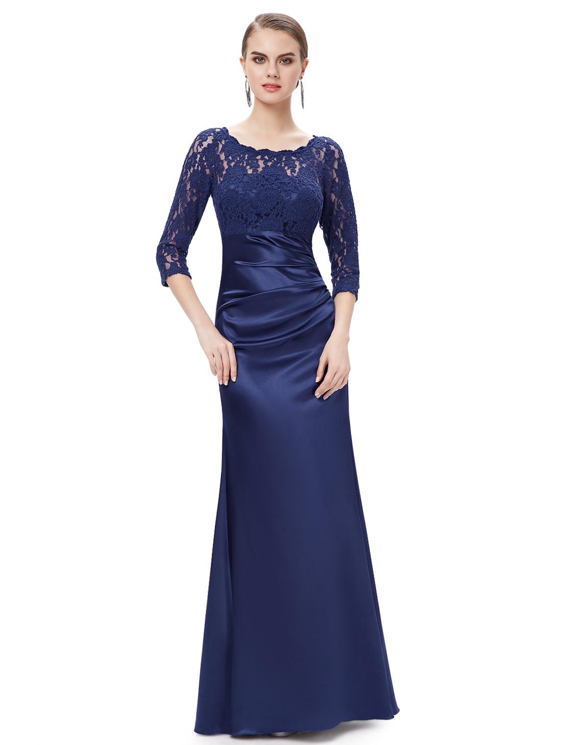 Elegant Navy blue Lace Long Sleeve Bridesmaid Dress