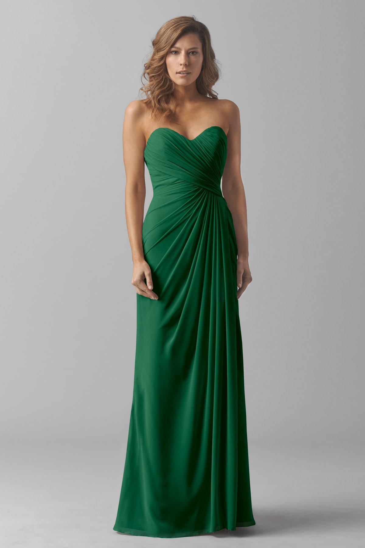 Emerald Green Seath Long Sweetheart Bridesmaid Dress