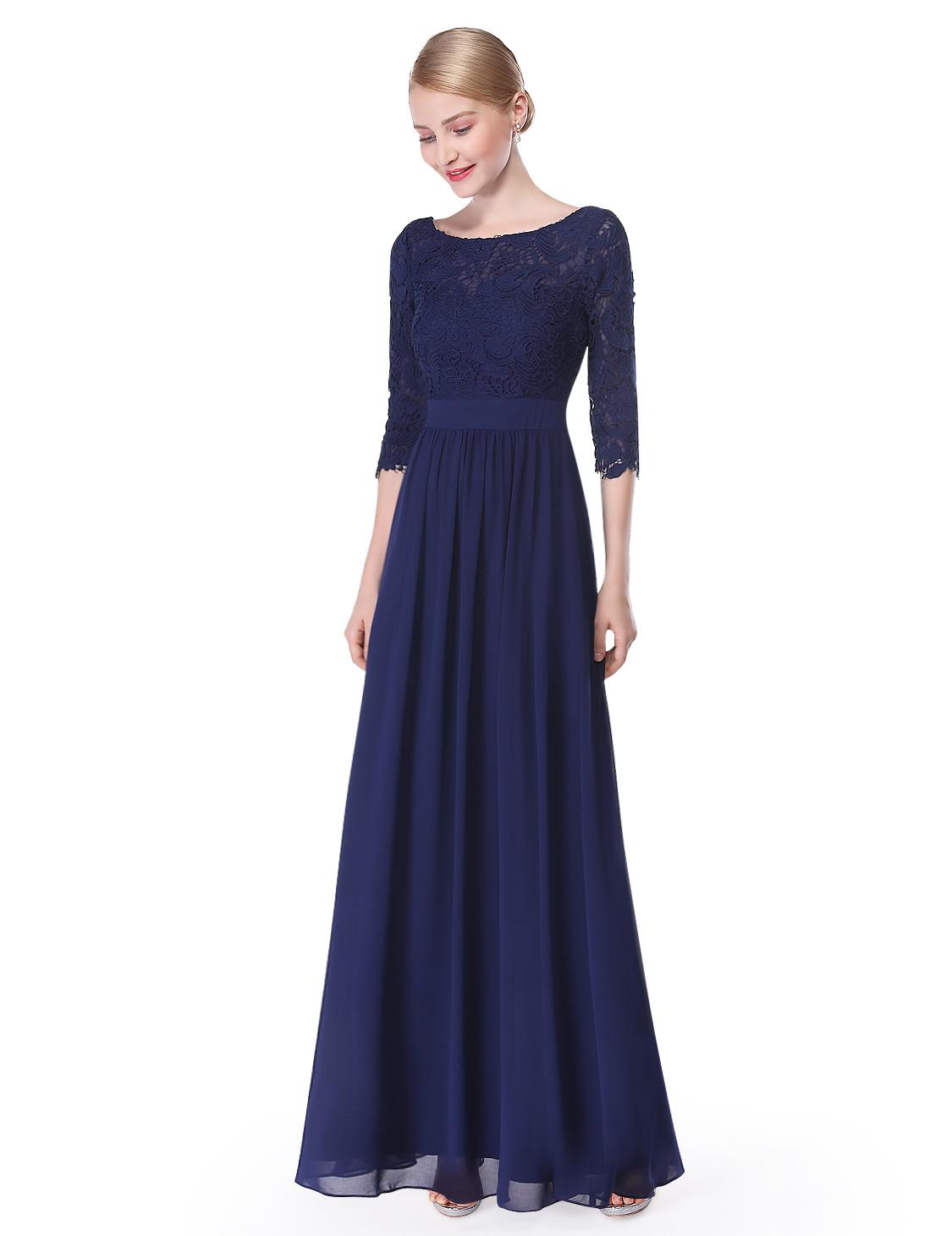 Half Sleeve Navy Blue Bridesmaid Dress 2017
