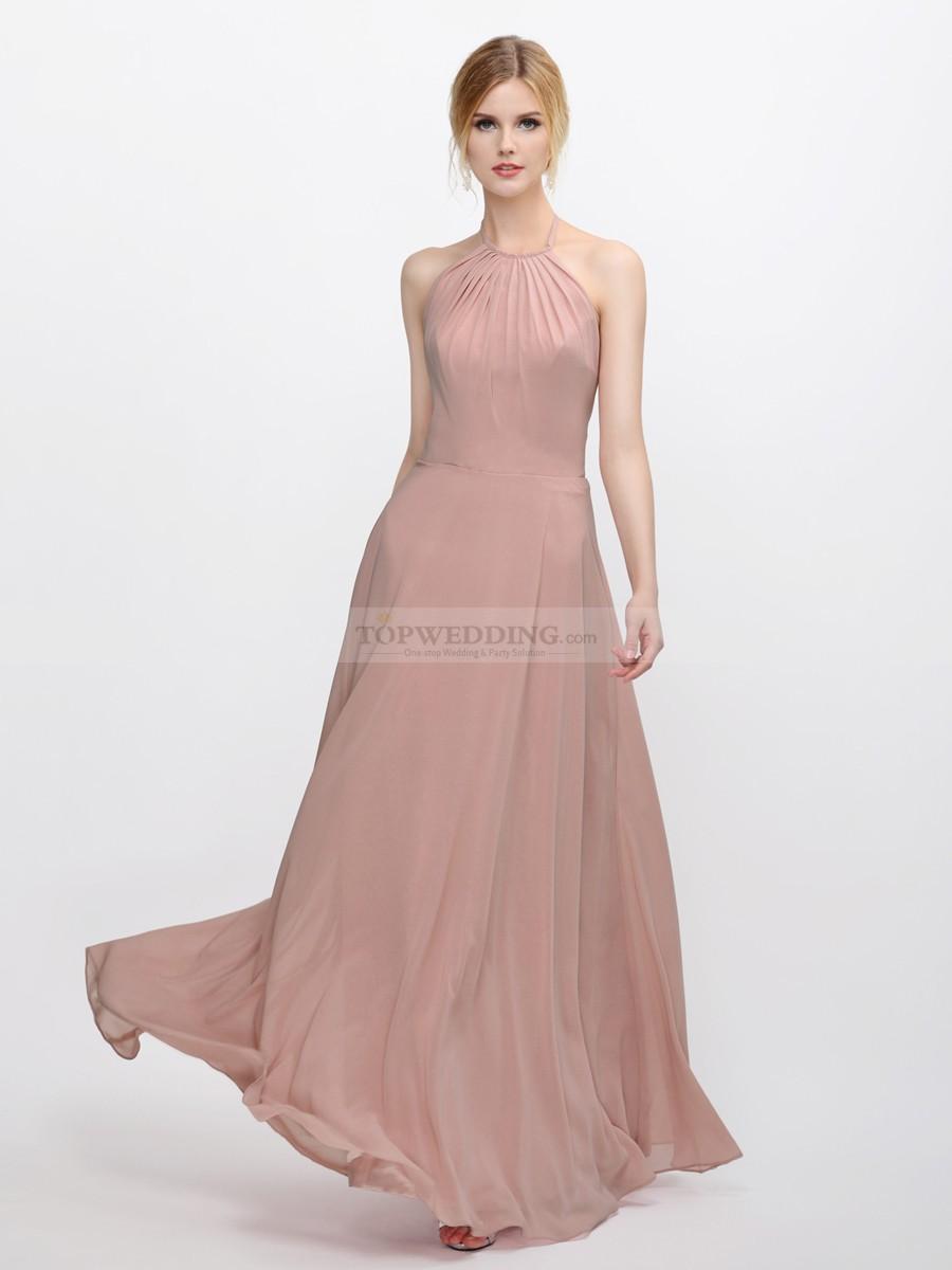 Halter Blush Pink Bridesmaid Dress