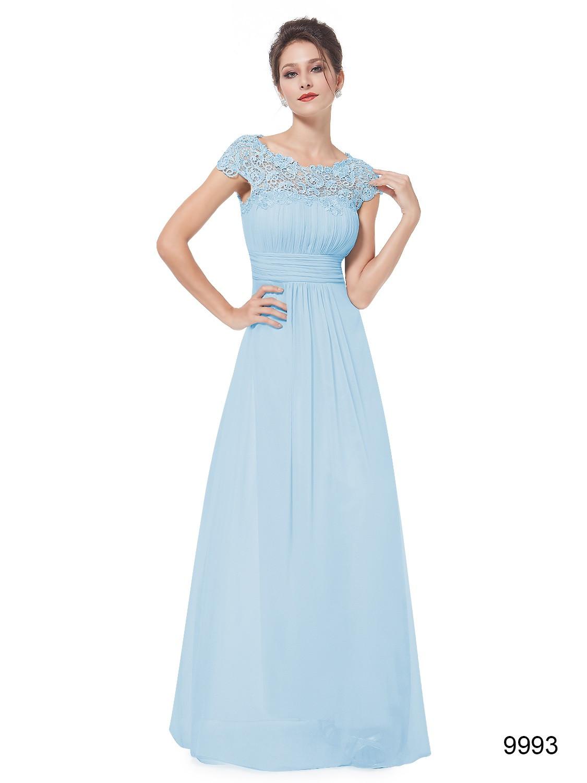 Long Baby Blue Lacey Bridesmaid Dress
