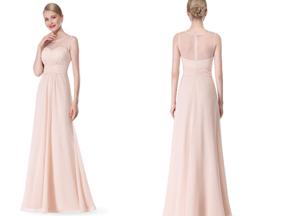Long Beige Sheer Lace Bridesmaid Dress