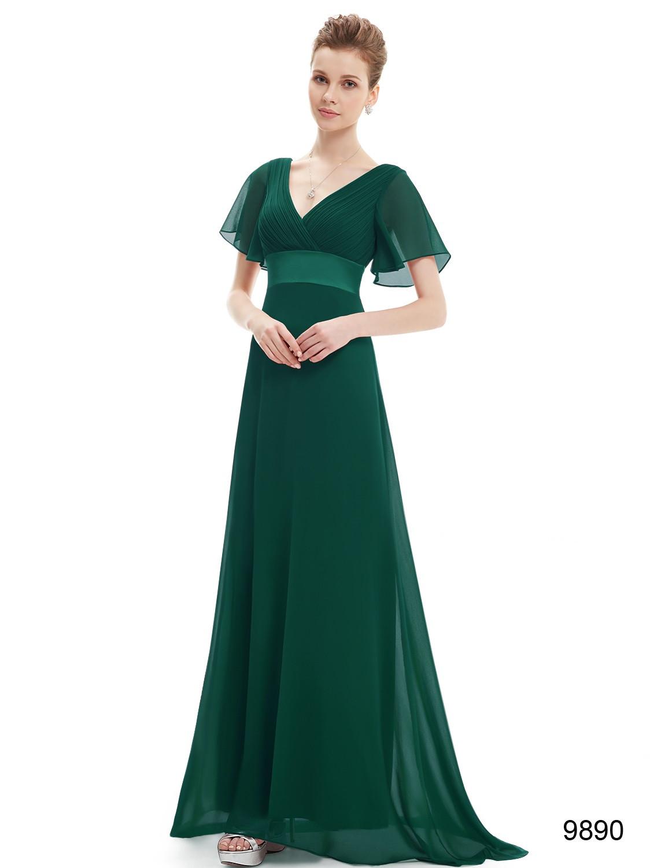 Long Green Double V-Neck Ruffles Bridesmaid Dress