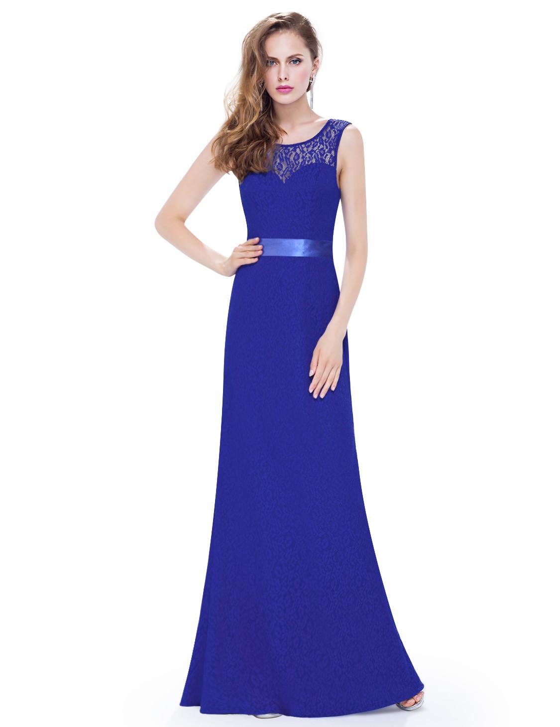 Long Royal Blue Sleeveless Lace Bridesmaid Dress