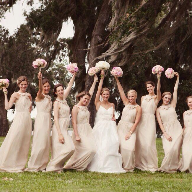 Long ivory beige bridesmaid dresses