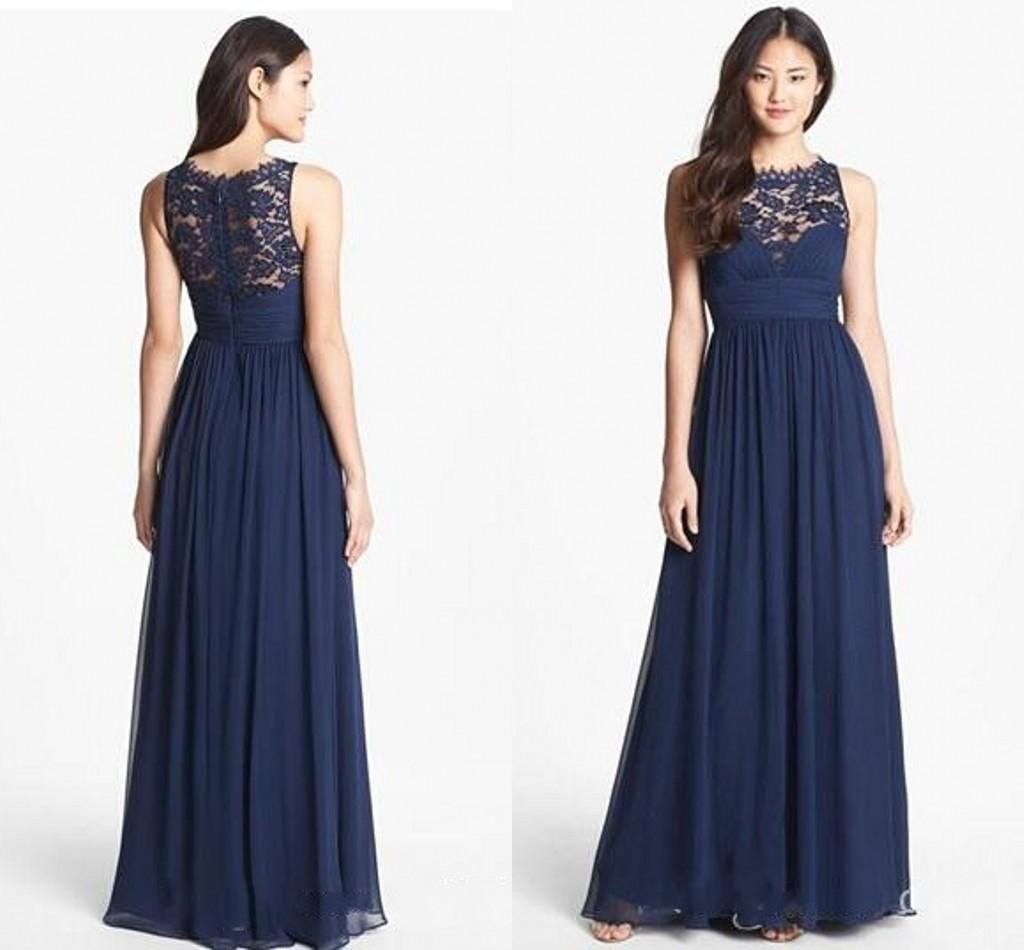 Long navy blue lace bridesmaid dresses
