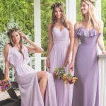 Long soft purple pretty bridesmaids dresses