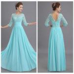 Long tiffany blue bridesmaid dresses with Long sleeves