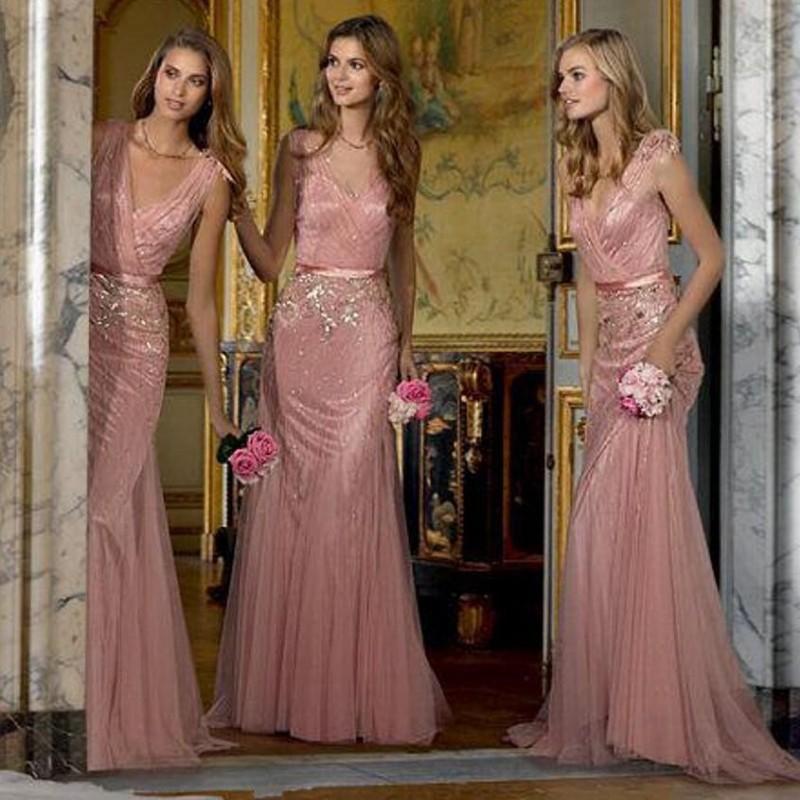 Mermaid Blush Pink Bridesmaid Dress long