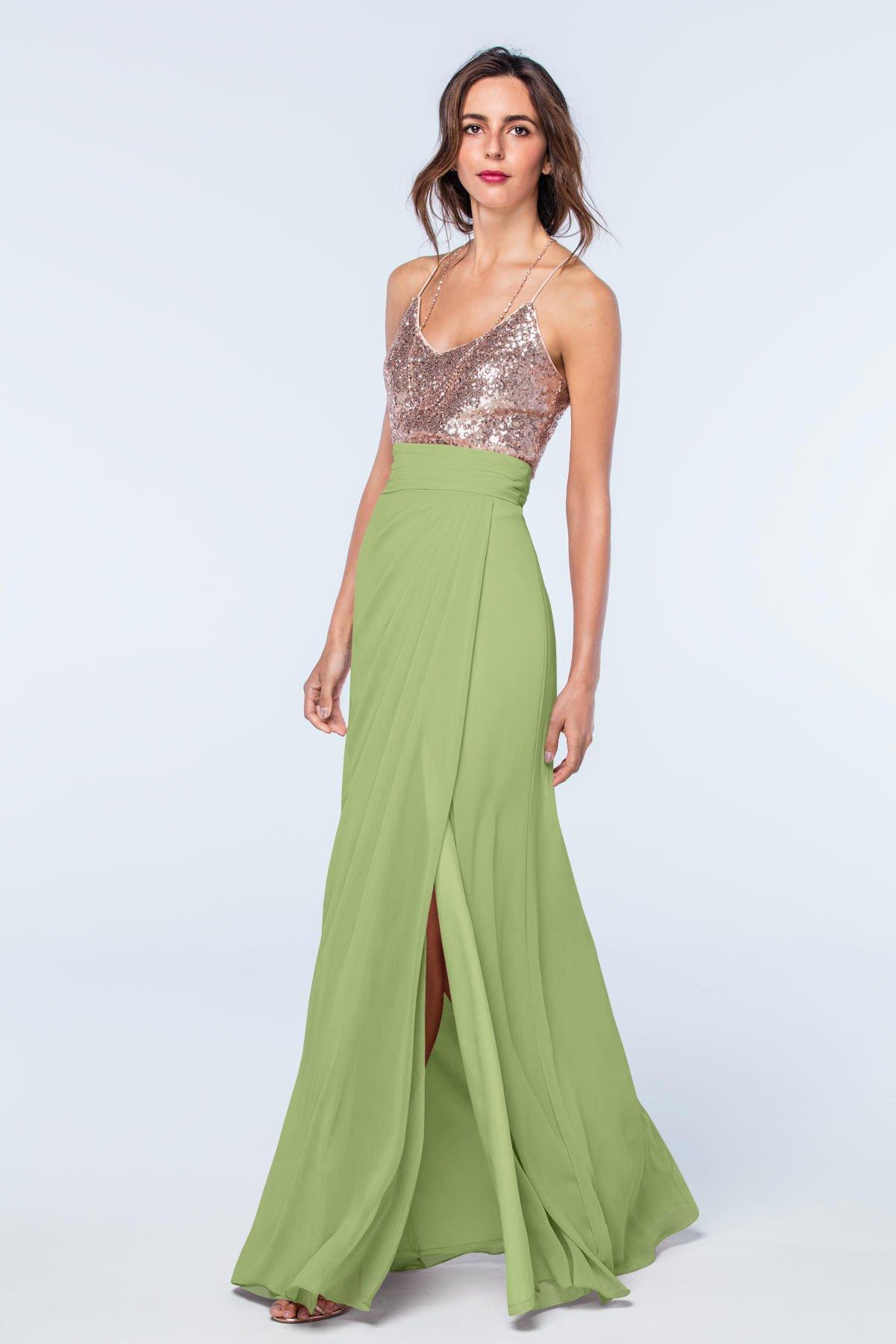 Midori Green Long Bridesmaid Dress with V neck up beading