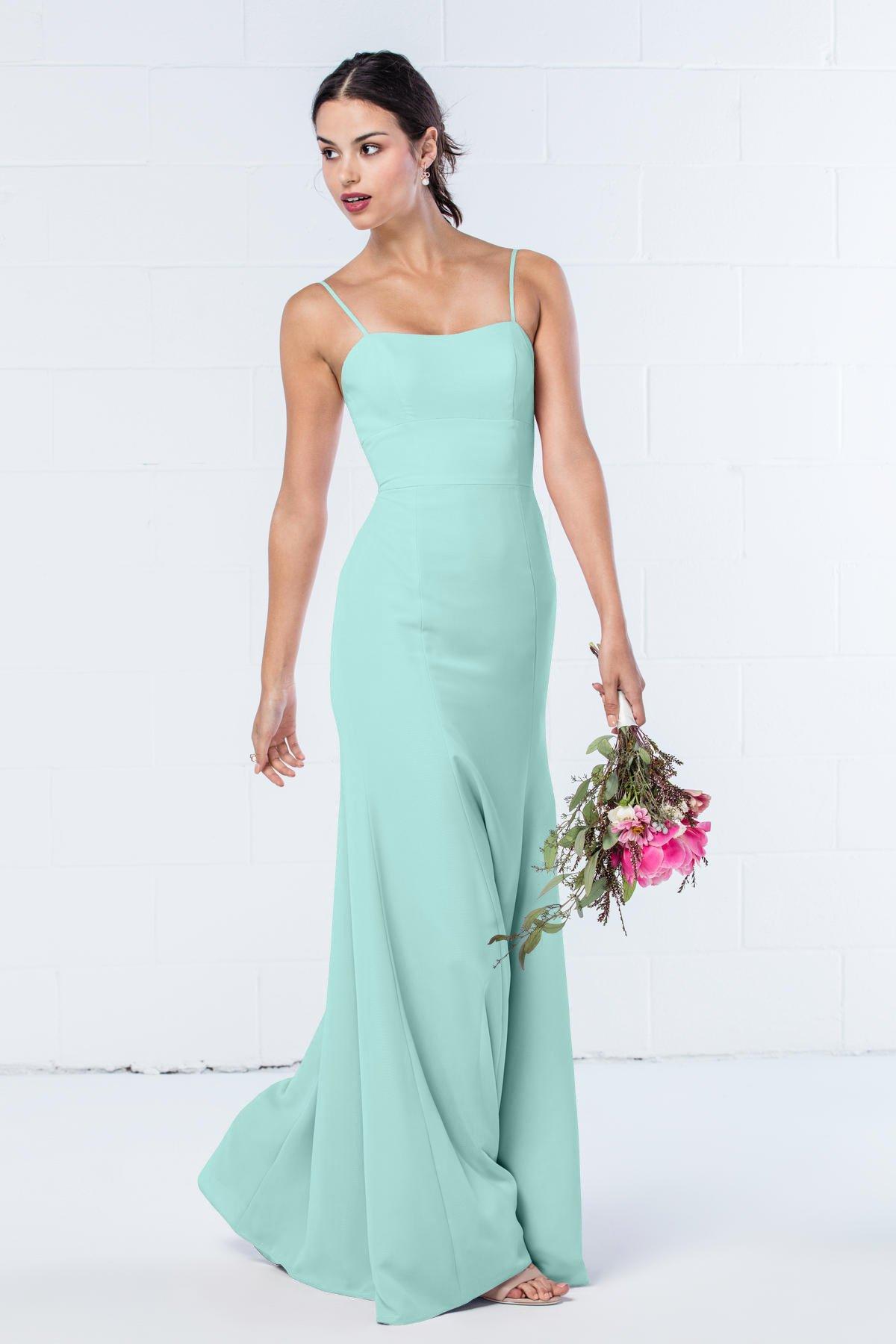 Mint Green Simple Long Bridesmaid Dress