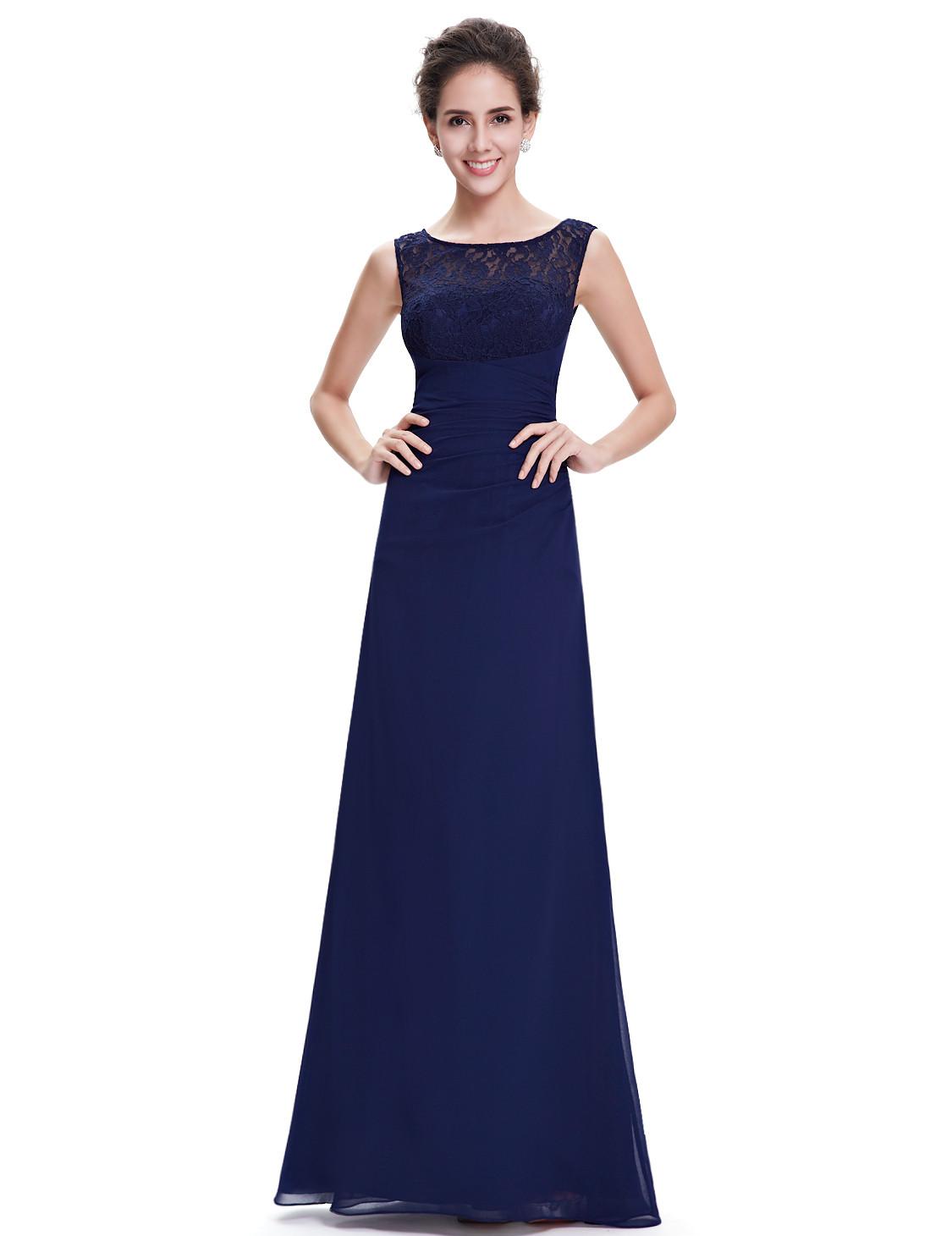 Navy Blue Deep Vee Lace Back Bridesmaid Dress