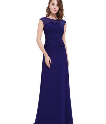 Navy Blue Lace Round Neck Bridesmaid Dress