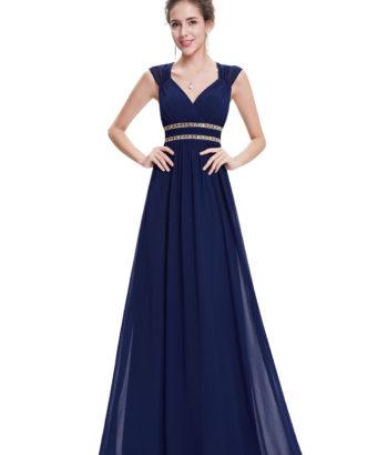 Navy Cheap Long Double V Elegant Bridesmaid Dress 2017