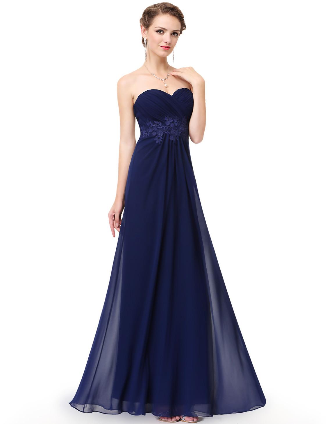 Navy Strapless Long Sweetheart Neckline Bridesmaid Dress