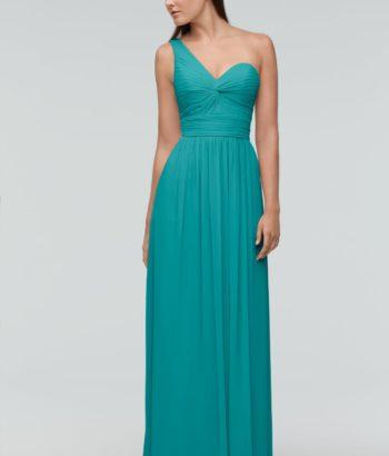 One Shoulder Aqua Green Long Bridesmaid Dress