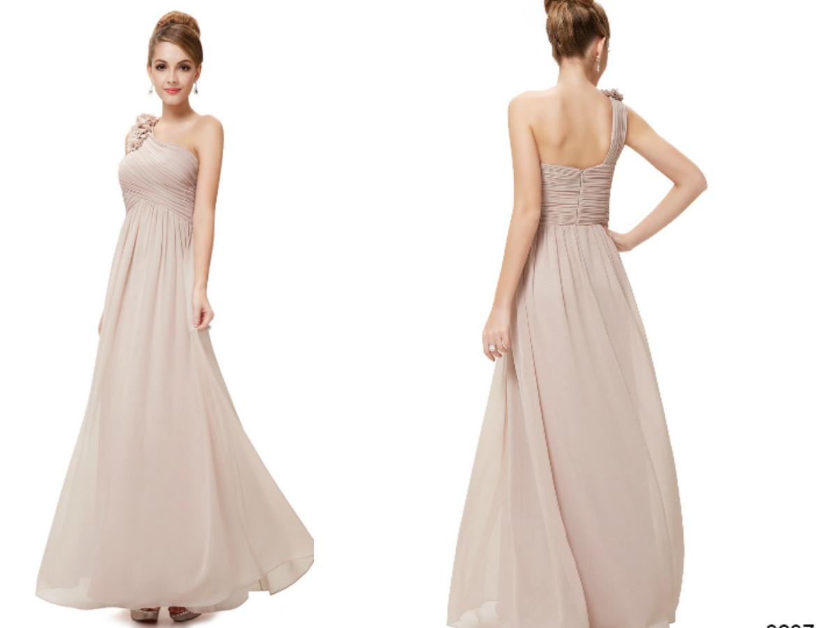 One Shoulder Beige Bridesmaid Dress