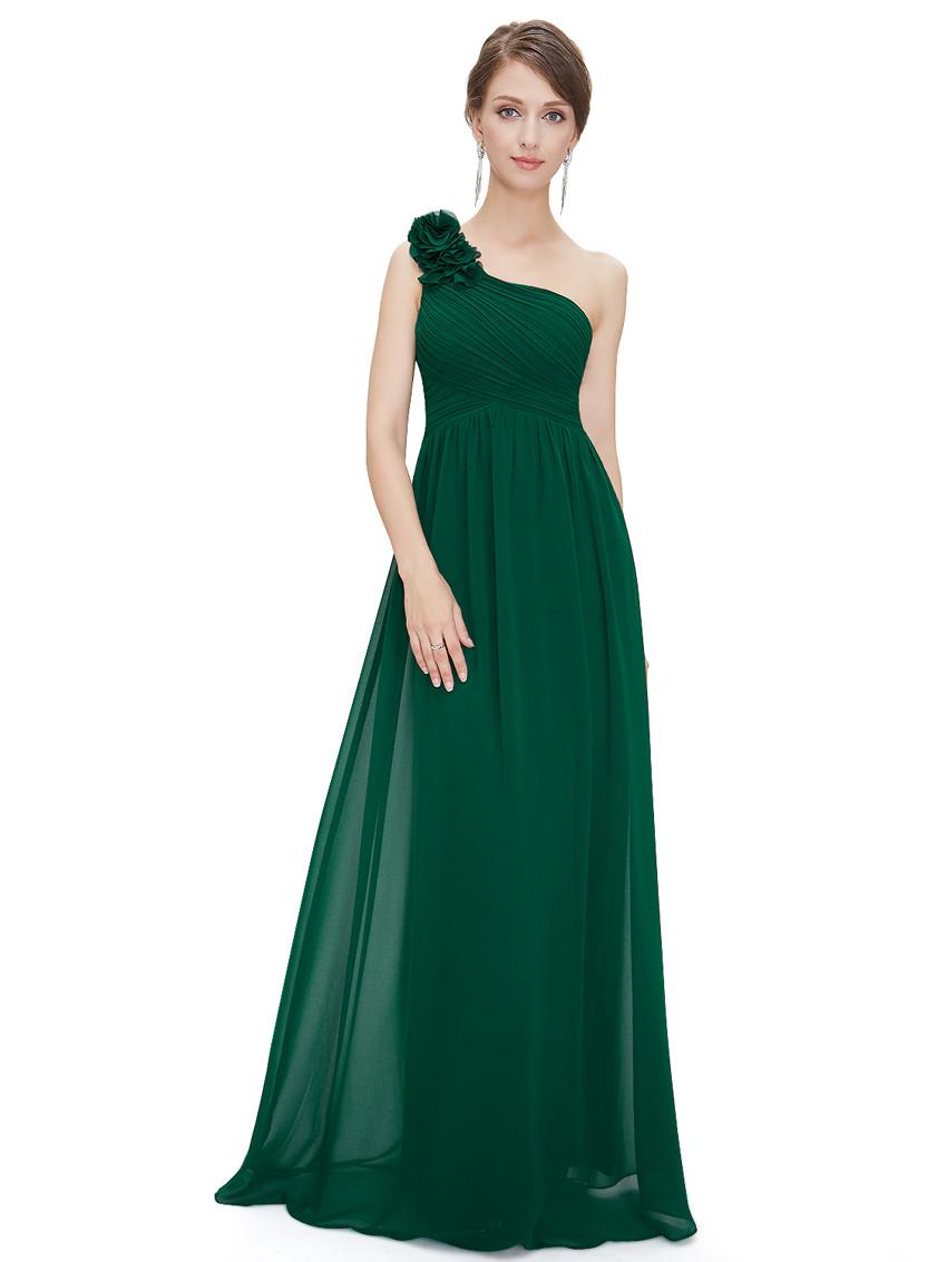 One Shoulder Green Bridesmaid Dress